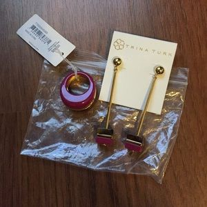 Trina Turk earrings and ring set